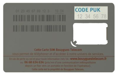 Support de carte SIM Bouygues Telecom
